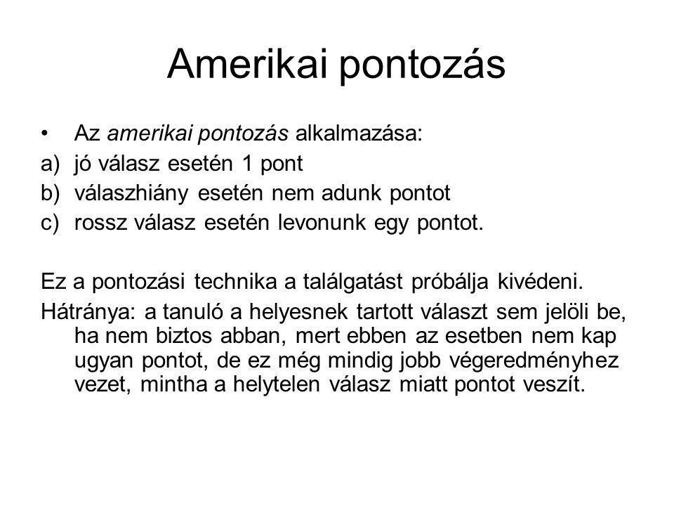 Amerikai pontozás Az amerikai pontozás alkalmazása: a)jó válasz esetén 1 pont b)válaszhiány esetén nem adunk pontot c)rossz válasz esetén levonunk egy pontot.