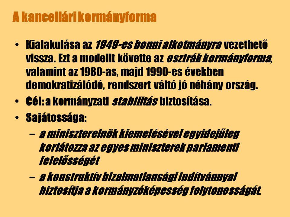 A kancellári kormányforma Kialakulása az 1949-es bonni alkotmányra vezethető vissza. Ezt a modellt követte az osztrák kormányforma, valamint az 1980-a