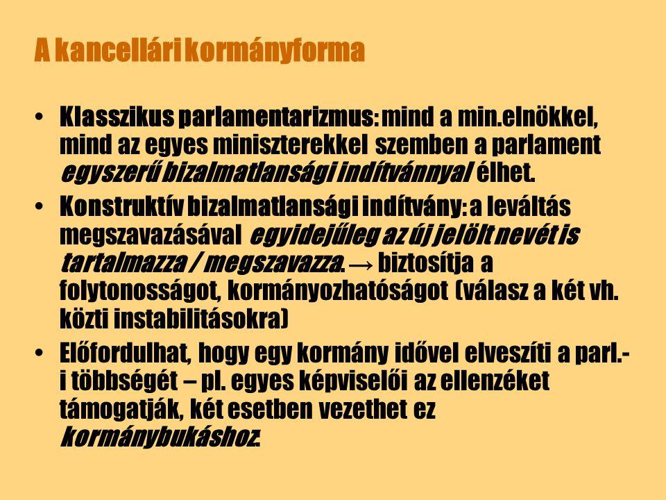 A kancellári kormányforma Klasszikus parlamentarizmus: mind a min.elnökkel, mind az egyes miniszterekkel szemben a parlament egyszerű bizalmatlansági