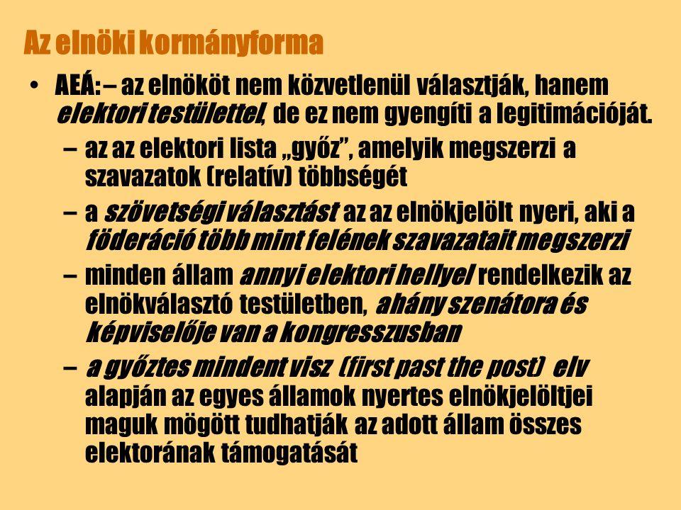 Az elnöki kormányforma A közvetlen elnökválasztás nem jelent automatikusan elnöki rendszert (pl.