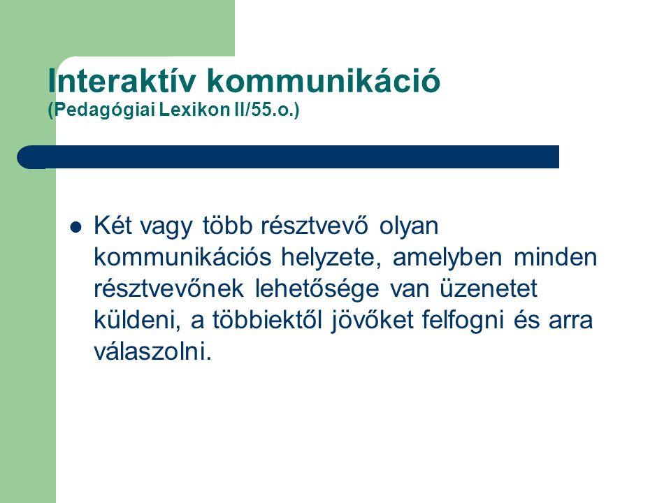 Interaktív kommunikáció (Pedagógiai Lexikon II/55.o.) Két vagy több résztvevő olyan kommunikációs helyzete, amelyben minden résztvevőnek lehetősége va