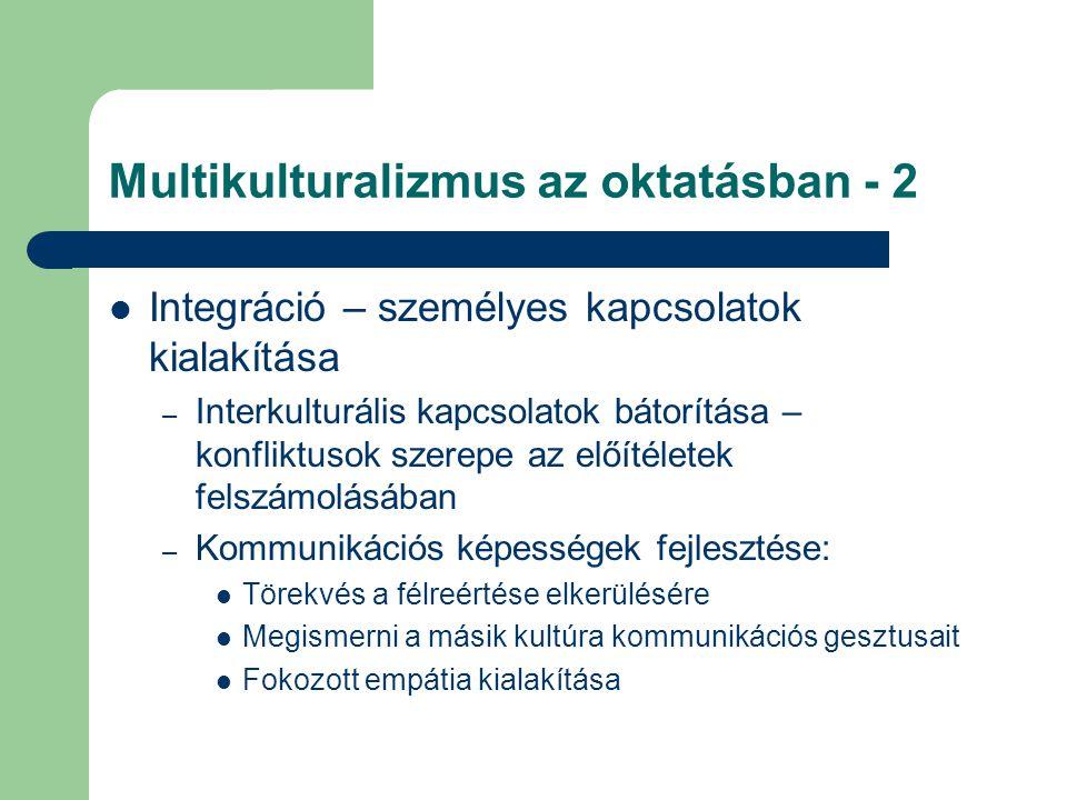 Multikulturalizmus az oktatásban - 2 Integráció – személyes kapcsolatok kialakítása – Interkulturális kapcsolatok bátorítása – konfliktusok szerepe az előítéletek felszámolásában – Kommunikációs képességek fejlesztése: Törekvés a félreértése elkerülésére Megismerni a másik kultúra kommunikációs gesztusait Fokozott empátia kialakítása