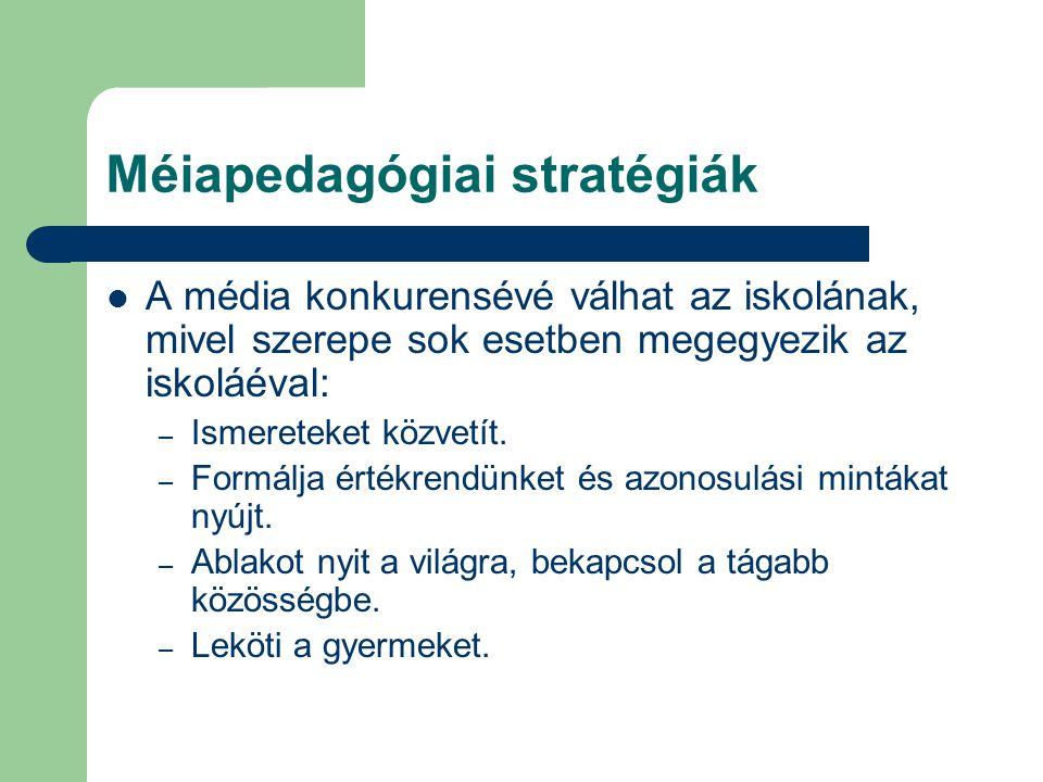 Méiapedagógiai stratégiák A média konkurensévé válhat az iskolának, mivel szerepe sok esetben megegyezik az iskoláéval: – Ismereteket közvetít.
