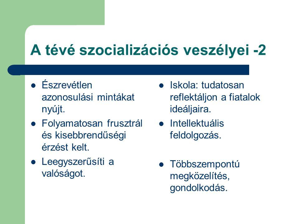 A tévé szocializációs veszélyei -2 Észrevétlen azonosulási mintákat nyújt.
