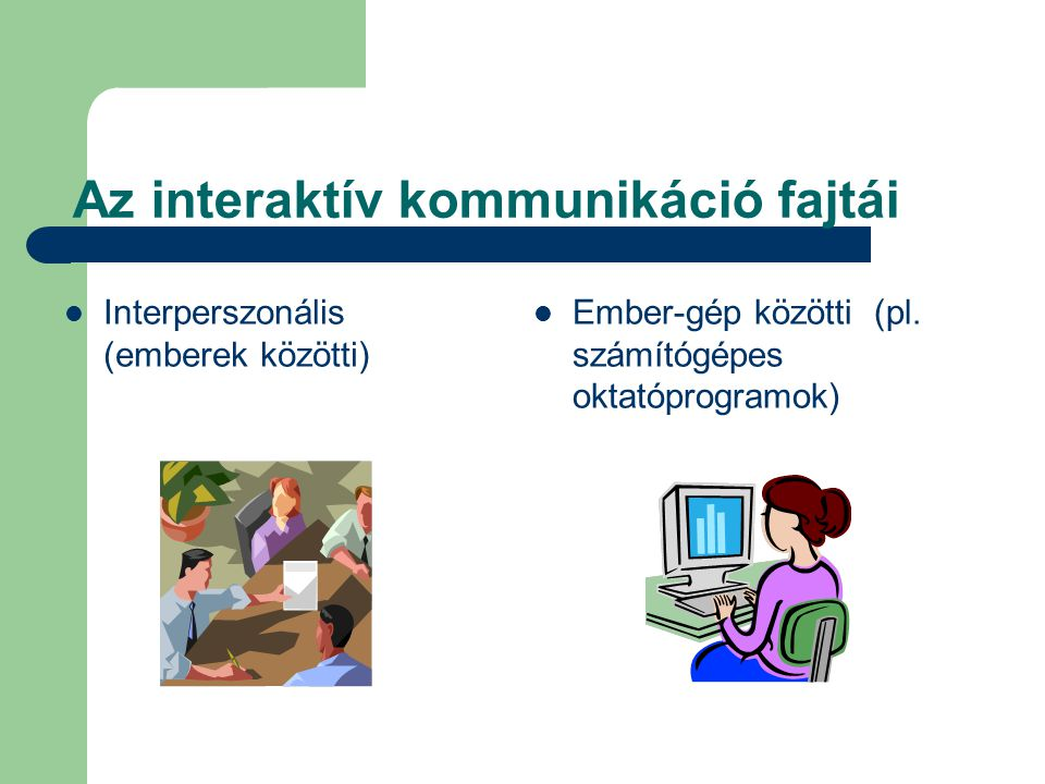 Az interaktív kommunikáció fajtái Interperszonális (emberek közötti) Ember-gép közötti (pl. számítógépes oktatóprogramok)