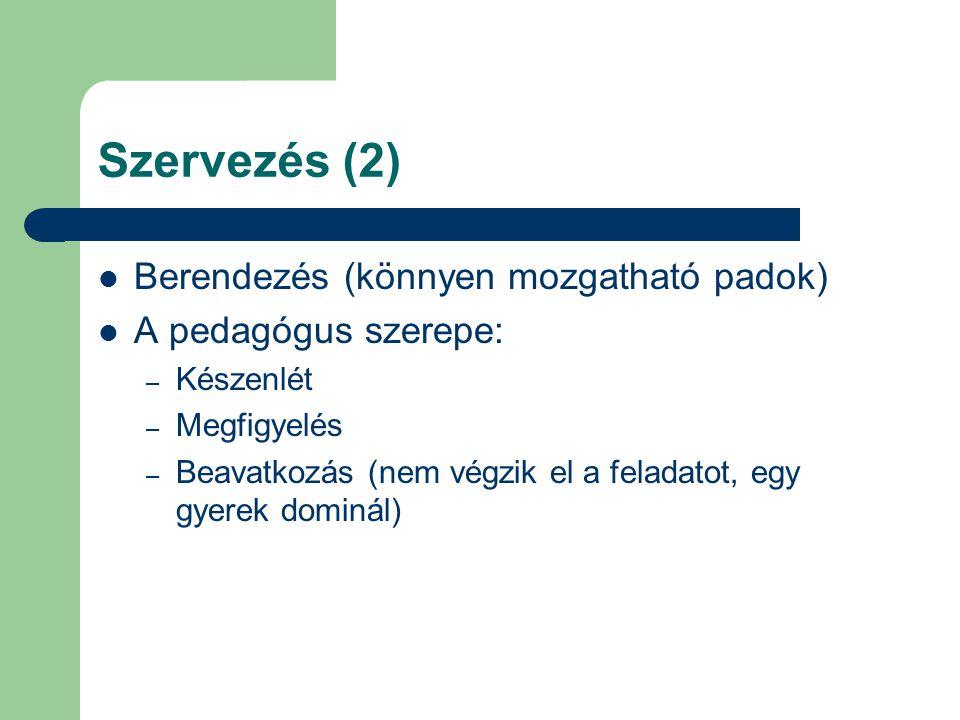 Szervezés (2) Berendezés (könnyen mozgatható padok) A pedagógus szerepe: – Készenlét – Megfigyelés – Beavatkozás (nem végzik el a feladatot, egy gyerek dominál)
