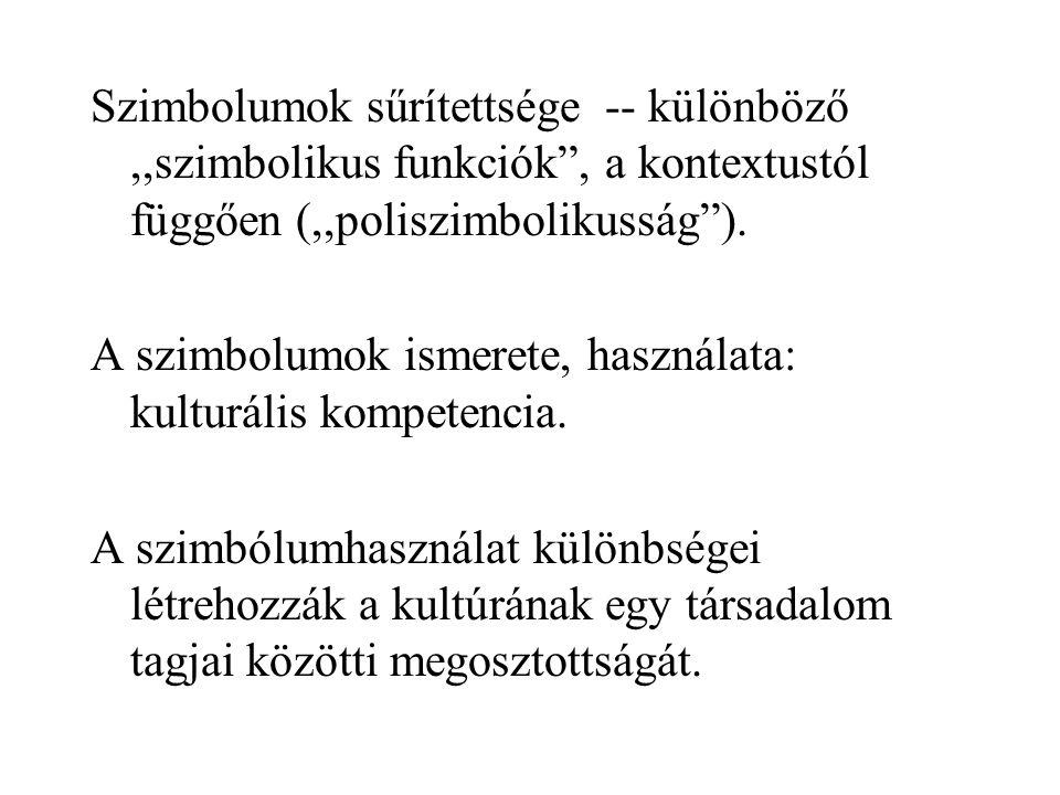 Szimbolumok sűrítettsége -- különböző,,szimbolikus funkciók , a kontextustól függően (,,poliszimbolikusság ).