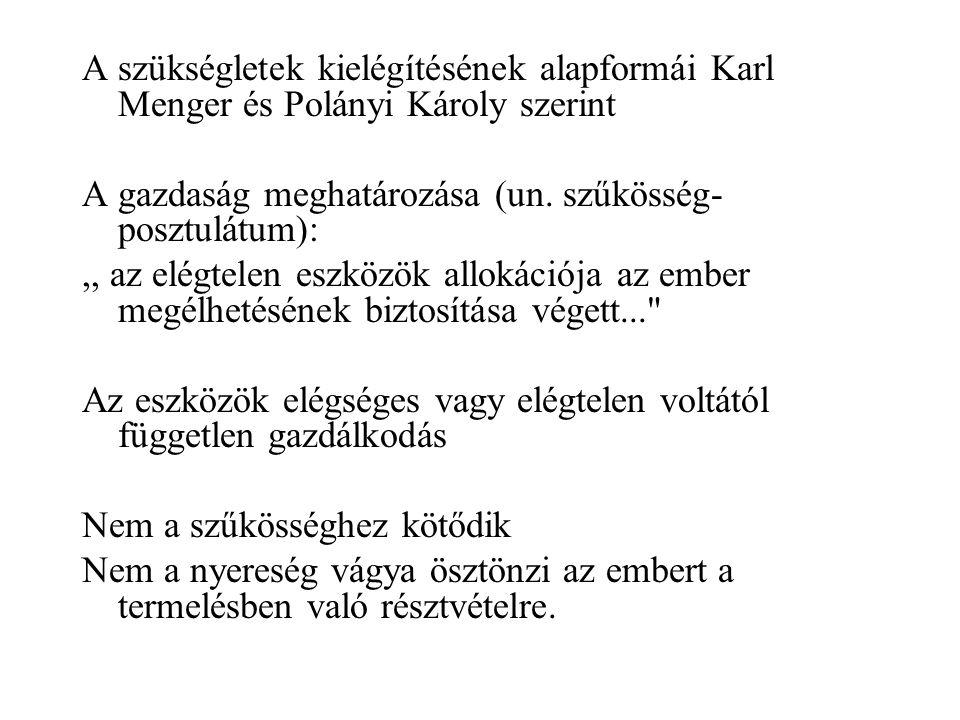A szükségletek kielégítésének alapformái Karl Menger és Polányi Károly szerint A gazdaság meghatározása (un.