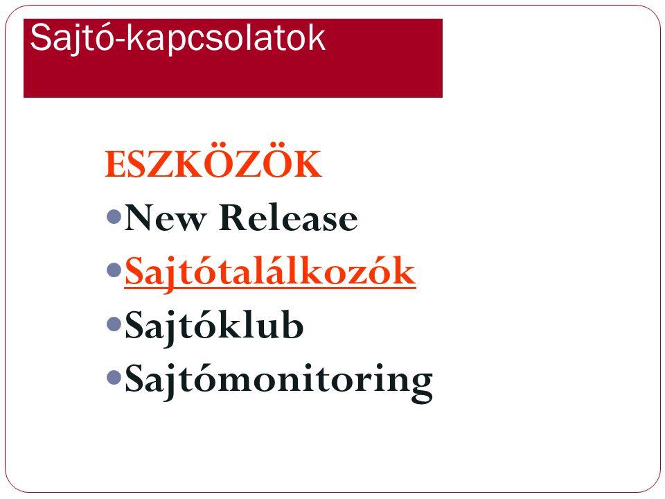 Sajtó-kapcsolatok ESZKÖZÖK New Release Sajtótalálkozók Sajtóklub Sajtómonitoring