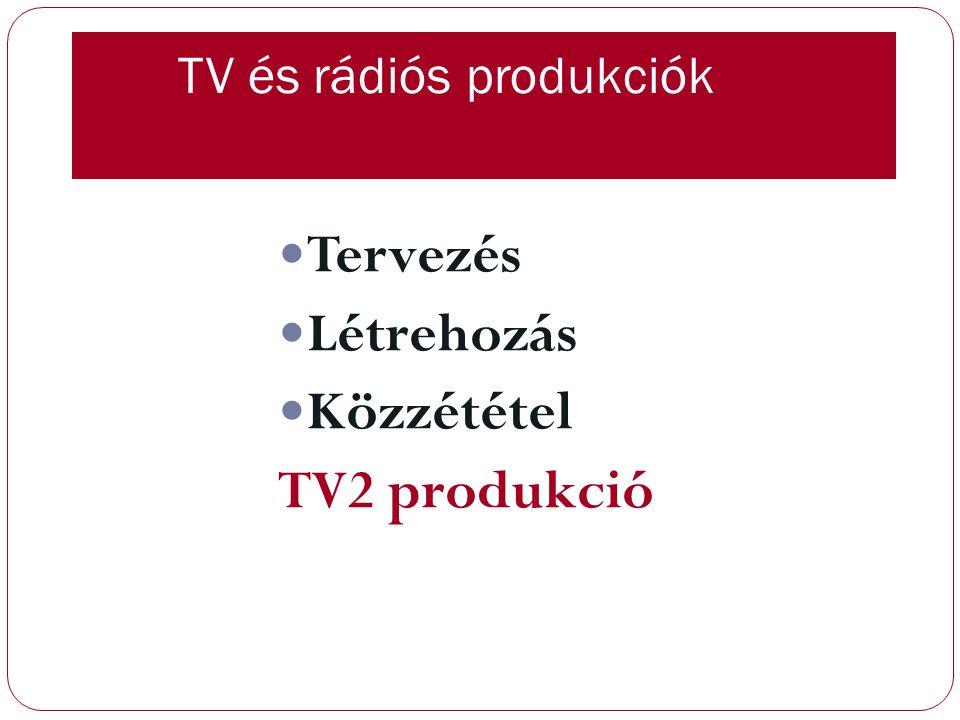 TV és rádiós produkciók Tervezés Létrehozás Közzététel TV2 produkció
