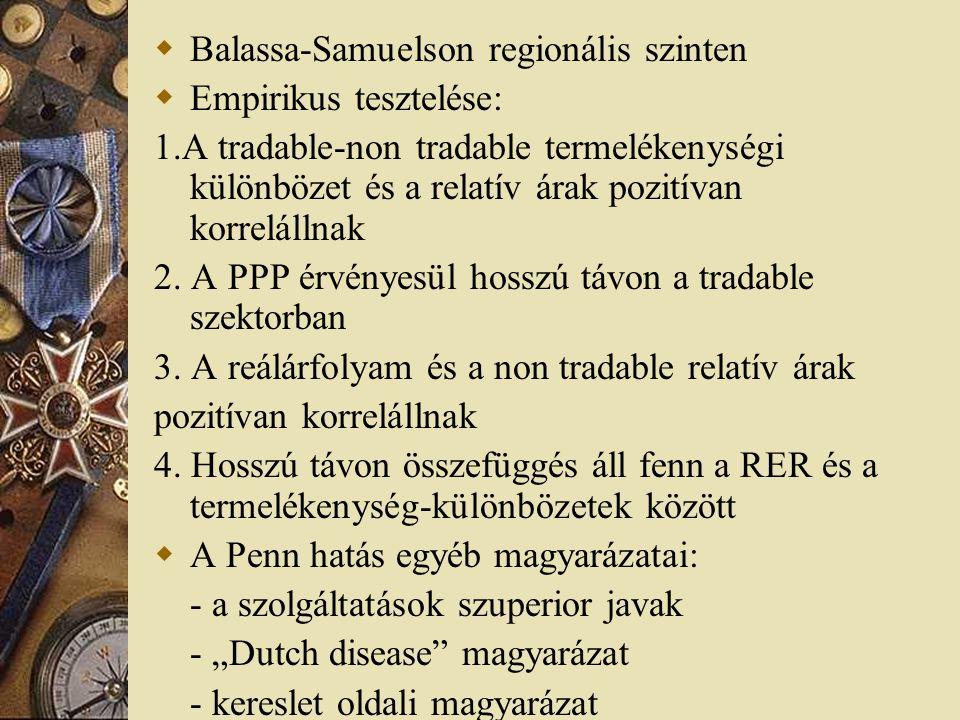  Balassa-Samuelson regionális szinten  Empirikus tesztelése: 1.A tradable-non tradable termelékenységi különbözet és a relatív árak pozitívan korrelállnak 2.