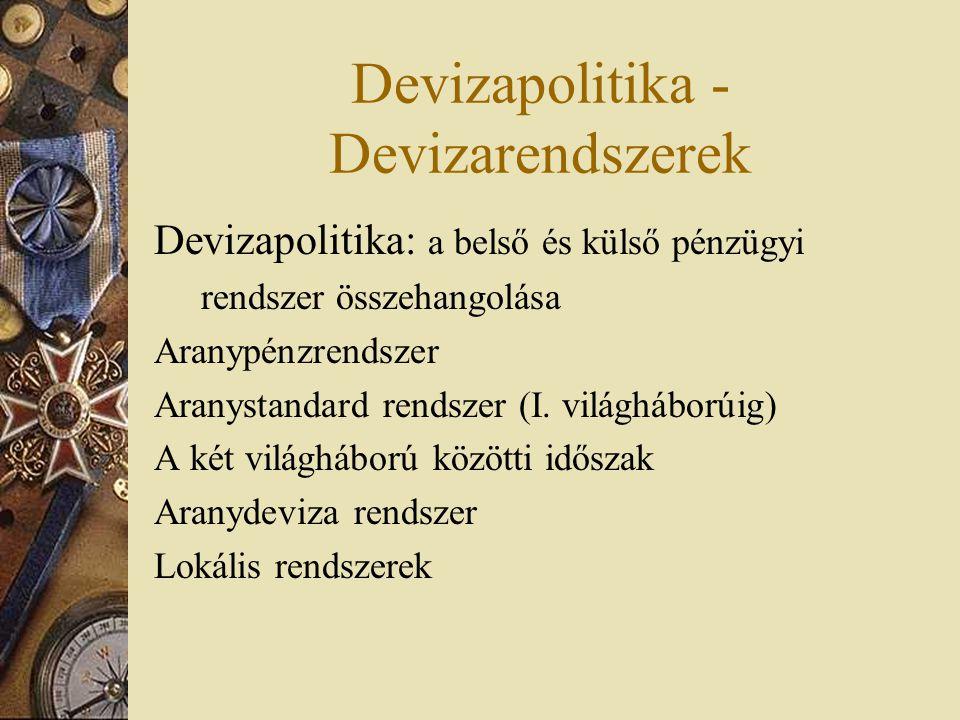Devizapolitika - Devizarendszerek Devizapolitika: a belső és külső pénzügyi rendszer összehangolása Aranypénzrendszer Aranystandard rendszer (I. világ