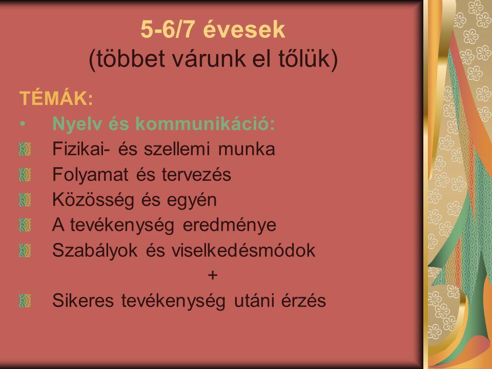 5-6/7 évesek (többet várunk el tőlük) TÉMÁK: Nyelv és kommunikáció: Fizikai- és szellemi munka Folyamat és tervezés Közösség és egyén A tevékenység er