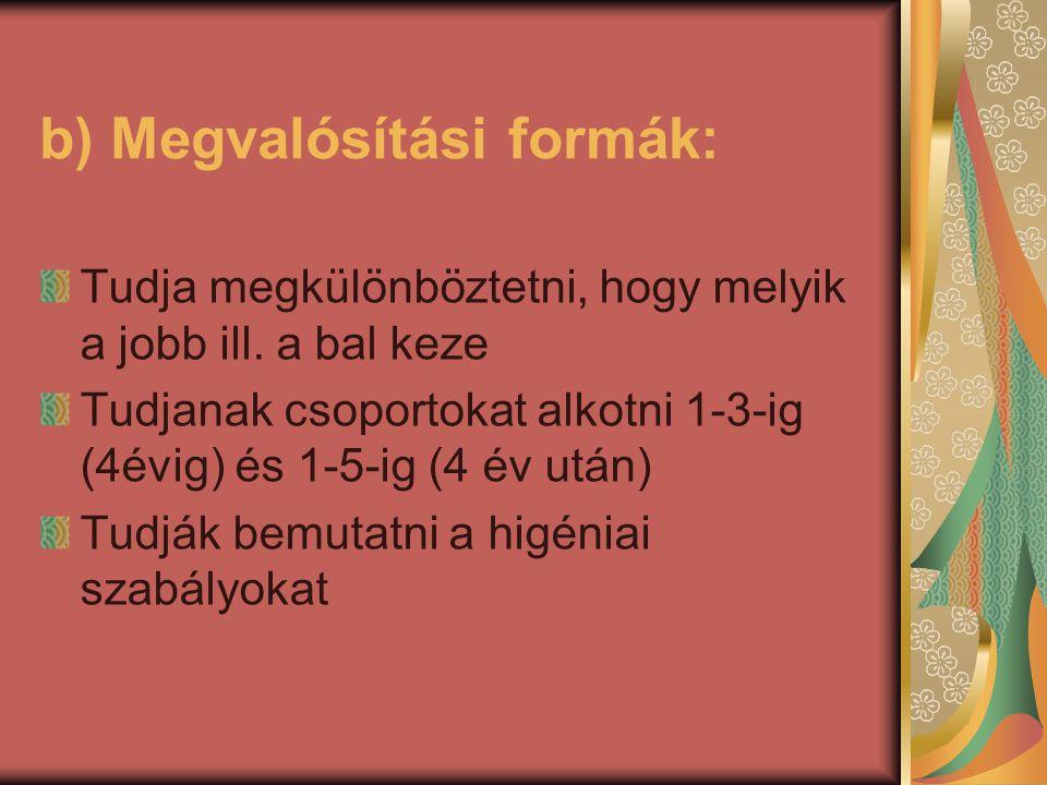 b) Megvalósítási formák: Tudja megkülönböztetni, hogy melyik a jobb ill. a bal keze Tudjanak csoportokat alkotni 1-3-ig (4évig) és 1-5-ig (4 év után)