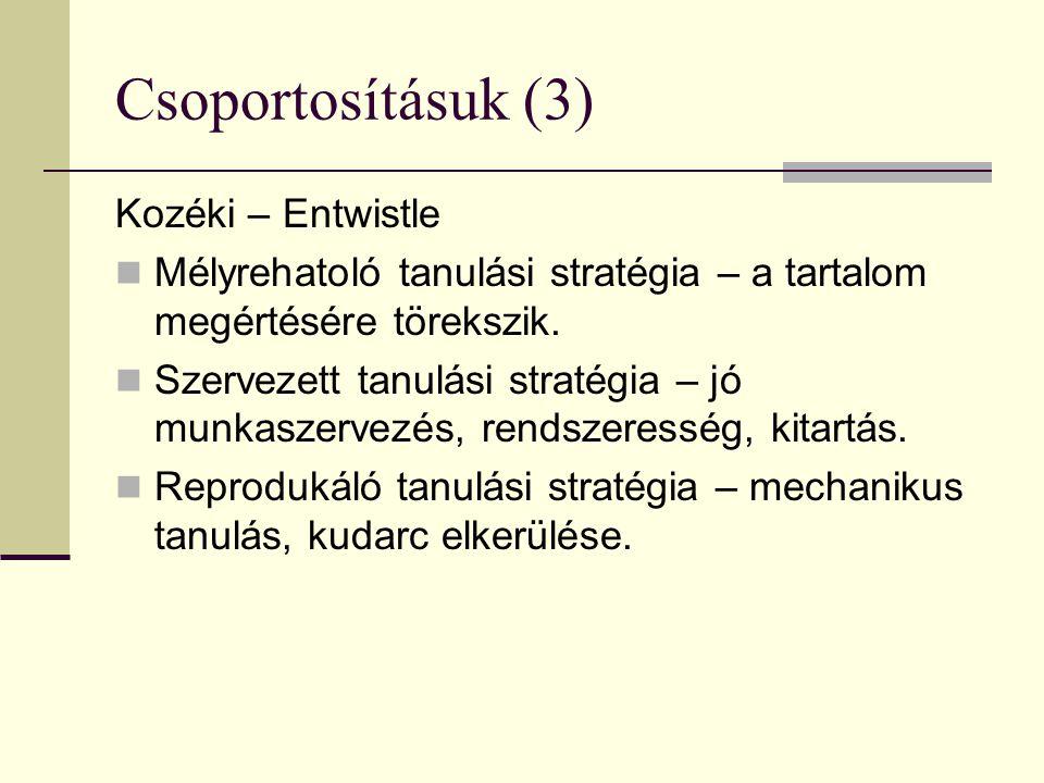 Csoportosításuk (3) Kozéki – Entwistle Mélyrehatoló tanulási stratégia – a tartalom megértésére törekszik. Szervezett tanulási stratégia – jó munkasze