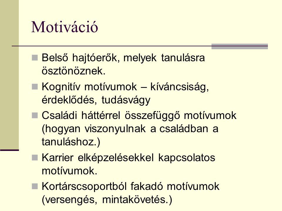 Motiváció Belső hajtóerők, melyek tanulásra ösztönöznek. Kognitív motívumok – kíváncsiság, érdeklődés, tudásvágy Családi háttérrel összefüggő motívumo