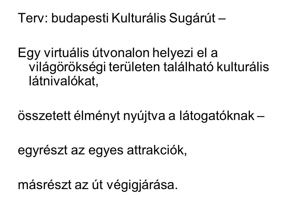 Terv: budapesti Kulturális Sugárút – Egy virtuális útvonalon helyezi el a világörökségi területen található kulturális látnivalókat, összetett élményt nyújtva a látogatóknak – egyrészt az egyes attrakciók, másrészt az út végigjárása.