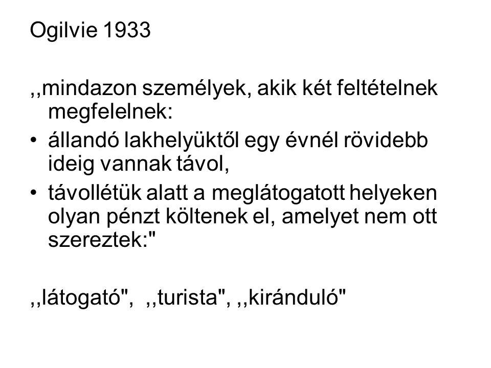 Ogilvie 1933,,mindazon személyek, akik két feltételnek megfelelnek: állandó lakhelyüktől egy évnél rövidebb ideig vannak távol, távollétük alatt a meglátogatott helyeken olyan pénzt költenek el, amelyet nem ott szereztek: ,,látogató ,,,turista ,,,kiránduló