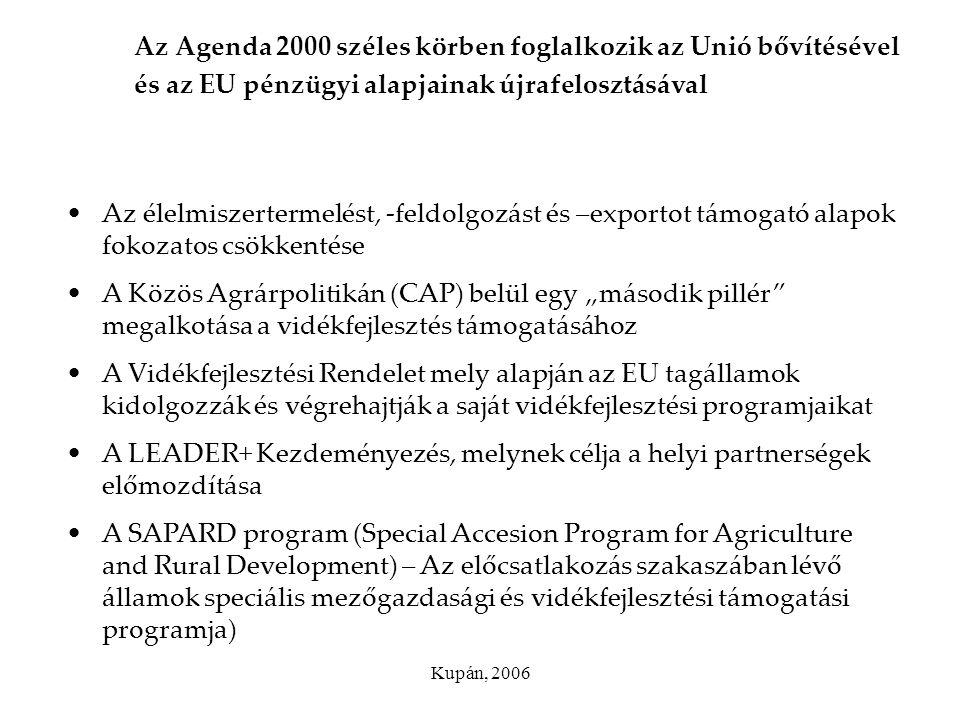 Kupán, 2006 Az Agenda 2000 széles körben foglalkozik az Unió bővítésével és az EU pénzügyi alapjainak újrafelosztásával Az élelmiszertermelést, -feldo