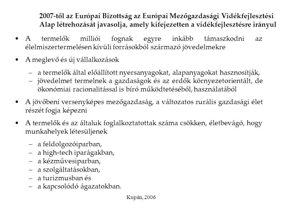 Kupán, 2006 2007-től az Európai Bizottság az Európai Mezőgazdasági Vidékfejlesztési Alap létrehozását javasolja, amely kifejezetten a vidékfejlesztésr
