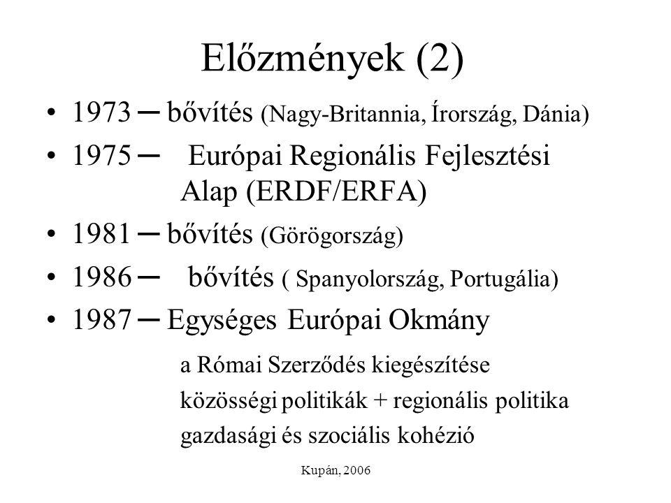 Kupán, 2006 Előzmények (2) 1973 ─ bővítés (Nagy-Britannia, Írország, Dánia) 1975 ─ Európai Regionális Fejlesztési Alap (ERDF/ERFA) 1981 ─ bővítés (Gör