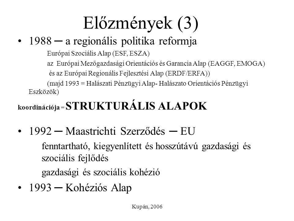 Kupán, 2006 Előzmények (3) 1988 ─ a regionális politika reformja Európai Szociális Alap (ESF, ESZA) az Európai Mezőgazdasági Orientációs és Garancia A