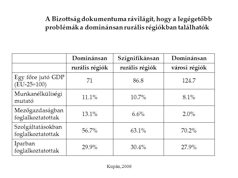 Kupán, 2006 A Bizottság dokumentuma rávilágít, hogy a legégetőbb problémák a dominánsan rurális régiókban találhatók 27.9%30.4%29.9% Iparban foglalkoz