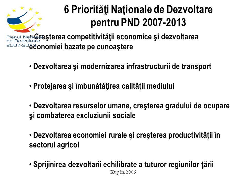 Kupán, 2006 6 Priorităţi Naţionale de Dezvoltare pentru PND 2007-2013 Creşterea competitivităţii economice şi dezvoltarea economiei bazate pe cunoaşte
