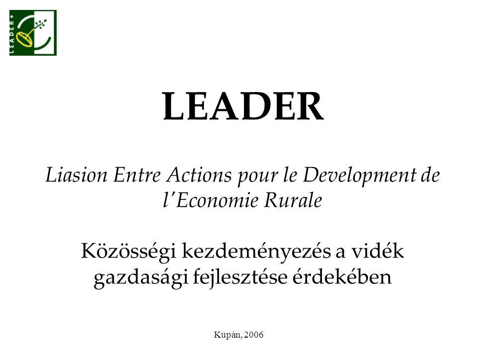 Kupán, 2006 LEADER Liasion Entre Actions pour le Development de l'Economie Rurale Közösségi kezdeményezés a vidék gazdasági fejlesztése érdekében