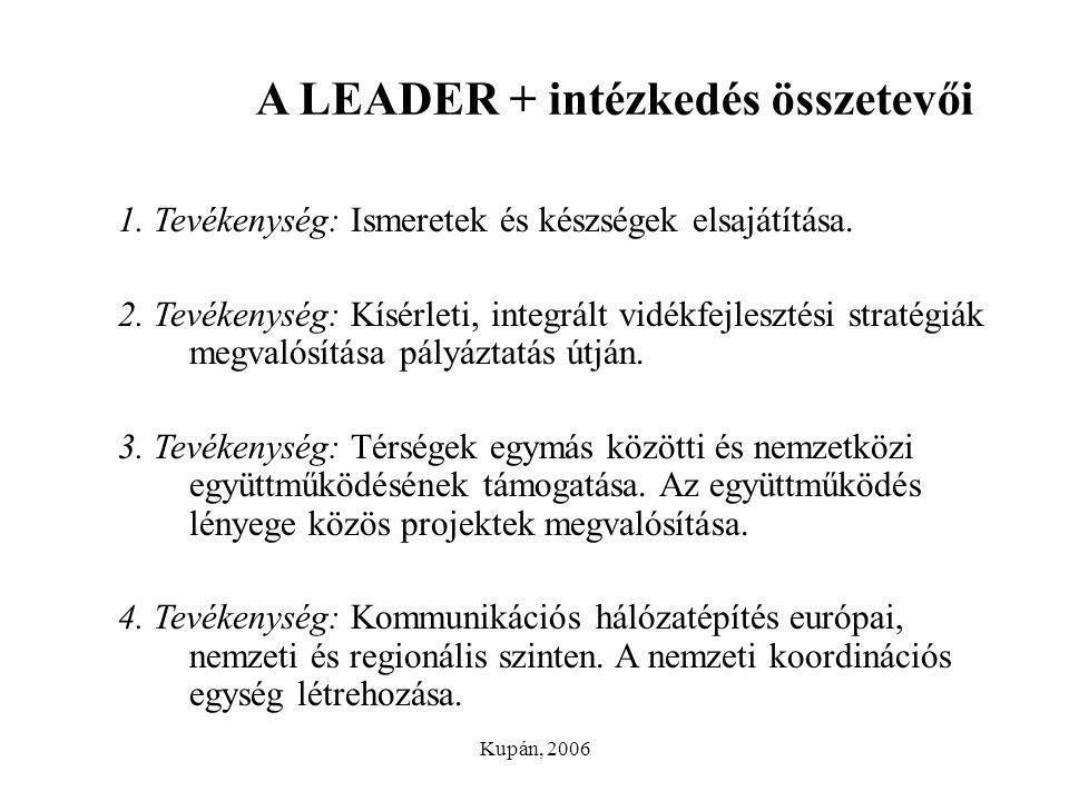 Kupán, 2006 A LEADER + intézkedés összetevői 1. Tevékenység: Ismeretek és készségek elsajátítása. 2. Tevékenység: Kísérleti, integrált vidékfejlesztés