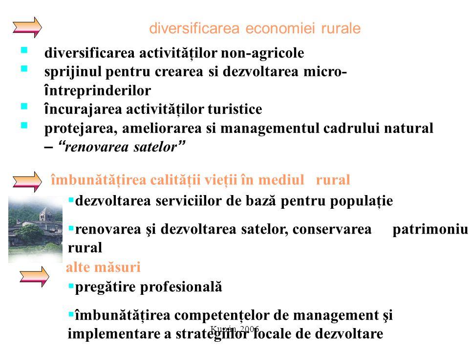 Kupán, 2006 diversificarea economiei rurale îmbunătăţirea calităţii vieţii în mediul rural  diversificarea activităţilor non-agricole  sprijinul pen