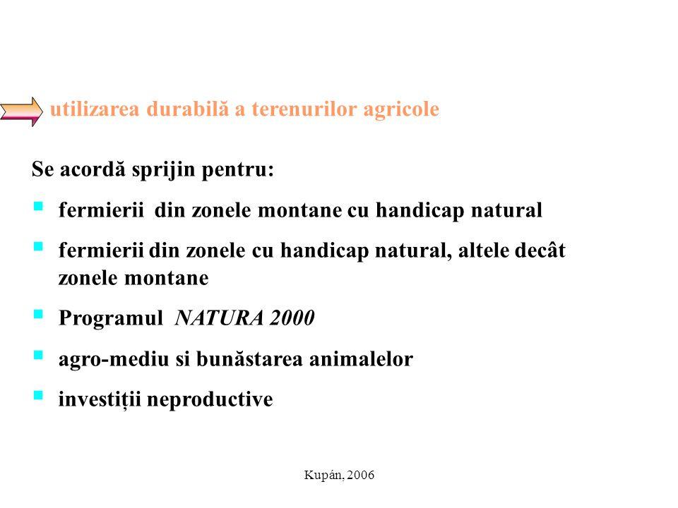Kupán, 2006 utilizarea durabilă a terenurilor agricole Se acordă sprijin pentru:  fermierii din zonele montane cu handicap natural  fermierii din zo