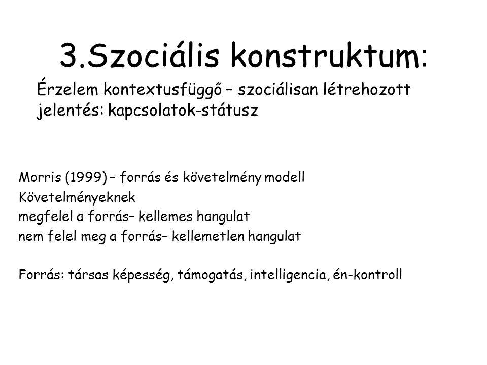 3.Szociális konstruktum : Érzelem kontextusfüggő – szociálisan létrehozott jelentés: kapcsolatok-státusz Morris (1999) – forrás és követelmény modell