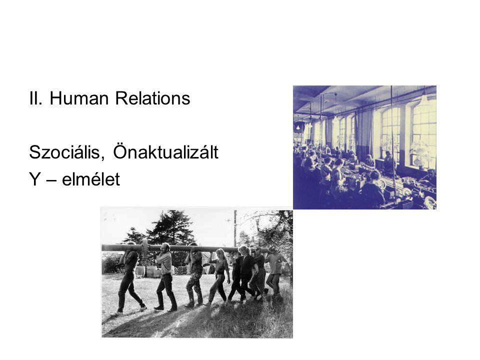 II. Human Relations Szociális, Önaktualizált Y – elmélet