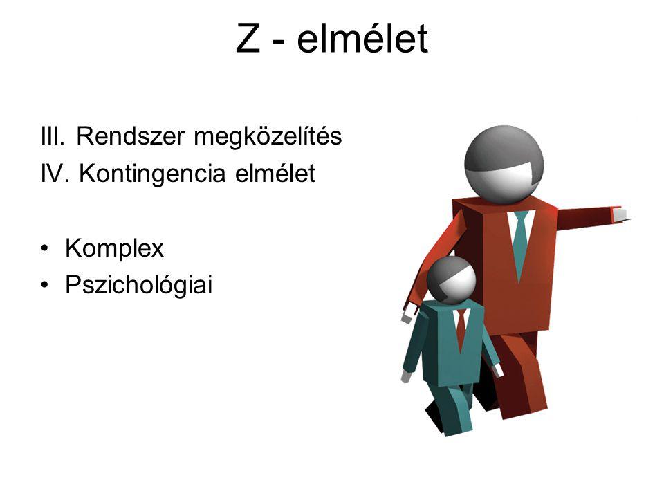 Z - elmélet III. Rendszer megközelítés IV. Kontingencia elmélet Komplex Pszichológiai