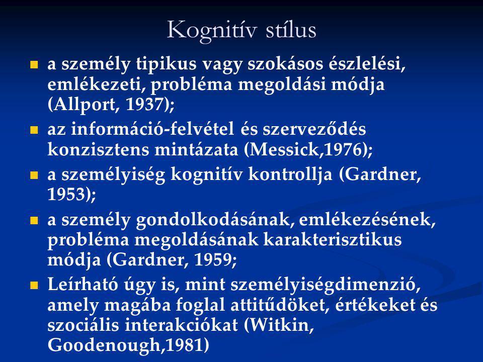 Kognitív stílus a személy tipikus vagy szokásos észlelési, emlékezeti, probléma megoldási módja (Allport, 1937); az információ-felvétel és szerveződés