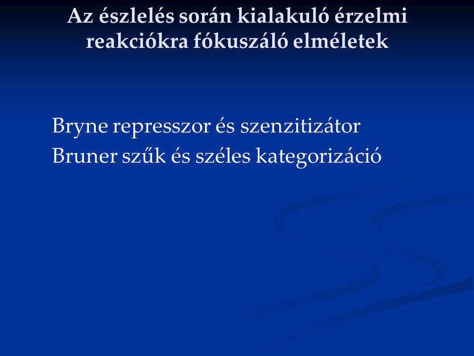 Az észlelés során kialakuló érzelmi reakciókra fókuszáló elméletek Bryne represszor és szenzitizátor Bruner szűk és széles kategorizáció