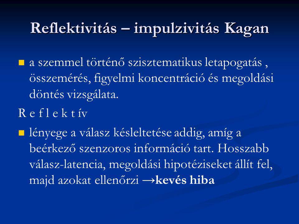 Reflektivitás – impulzivitás Kagan a szemmel történő szisztematikus letapogatás, összemérés, figyelmi koncentráció és megoldási döntés vizsgálata. R e