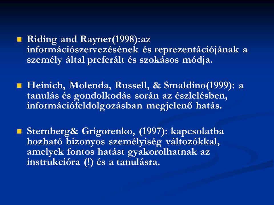 Riding and Rayner(1998):az információszervezésének és reprezentációjának a személy által preferált és szokásos módja. Heinich, Molenda, Russell, & Sma
