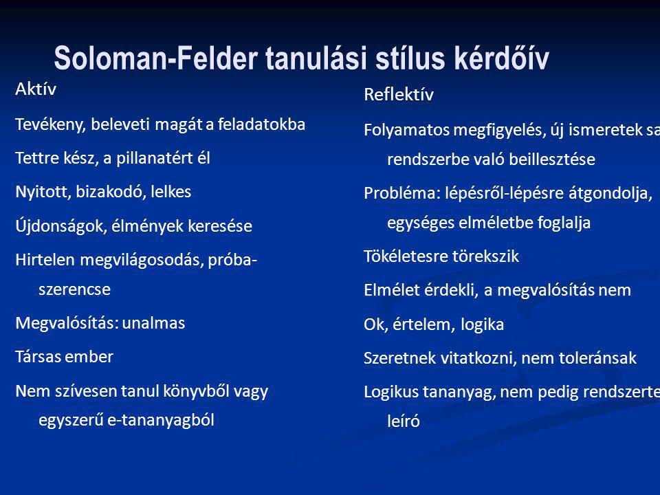 Soloman-Felder tanulási stílus kérdőív Aktív Tevékeny, beleveti magát a feladatokba Tettre kész, a pillanatért él Nyitott, bizakodó, lelkes Újdonságok