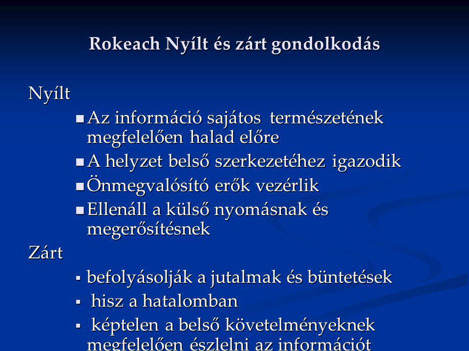 Rokeach Nyílt és zárt gondolkodás Nyílt Az információ sajátos természetének megfelelően halad előre Az információ sajátos természetének megfelelően ha