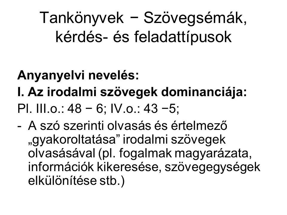 Tankönyvek − Szövegsémák, kérdés- és feladattípusok Anyanyelvi nevelés: I. Az irodalmi szövegek dominanciája: Pl. III.o.: 48 − 6; IV.o.: 43 −5; -A szó
