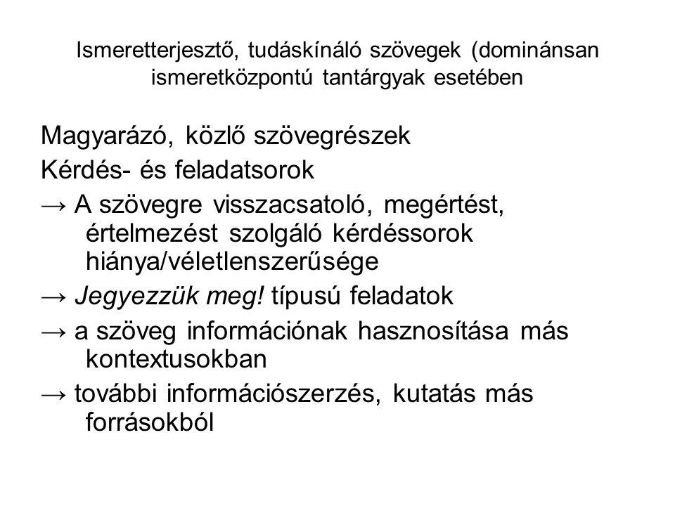 Ismeretterjesztő, tudáskínáló szövegek (dominánsan ismeretközpontú tantárgyak esetében Magyarázó, közlő szövegrészek Kérdés- és feladatsorok → A szöve