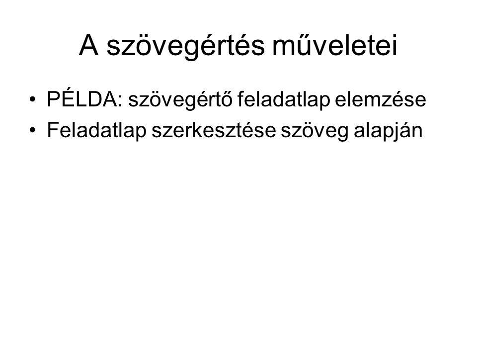 A szövegértés műveletei PÉLDA: szövegértő feladatlap elemzése Feladatlap szerkesztése szöveg alapján