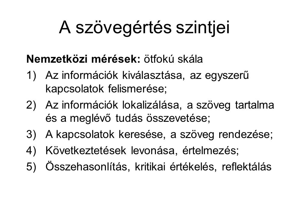 A szövegértés szintjei Magyarországi monitor-vizsgálatok.