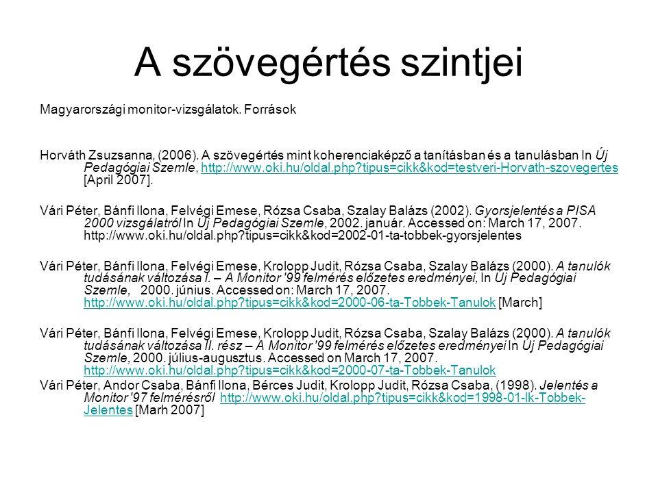 A szövegértés szintjei Magyarországi monitor-vizsgálatok. Források Horváth Zsuzsanna, (2006). A szövegértés mint koherenciaképző a tanításban és a tan