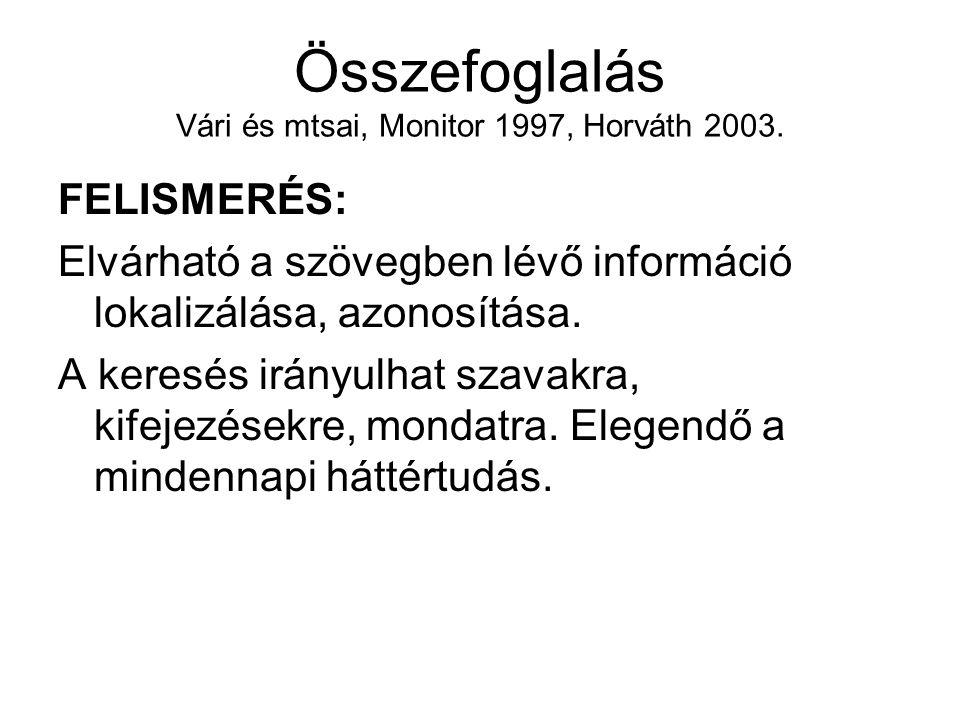 Összefoglalás Vári és mtsai, Monitor 1997, Horváth 2003. FELISMERÉS: Elvárható a szövegben lévő információ lokalizálása, azonosítása. A keresés irányu