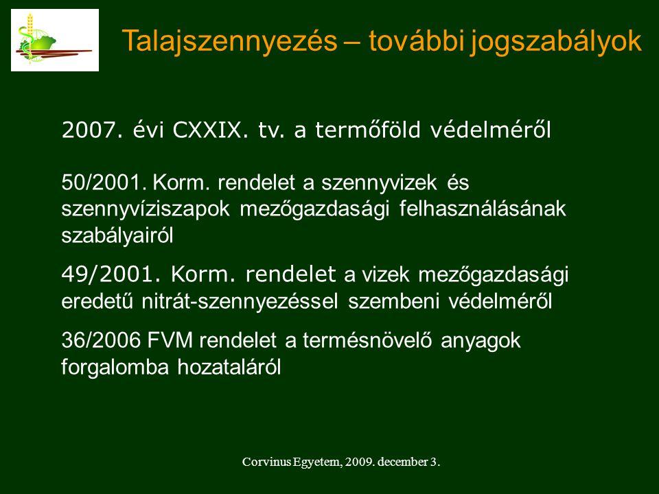 Corvinus Egyetem, 2009.december 3. Talajszennyezés – további jogszabályok 2007.