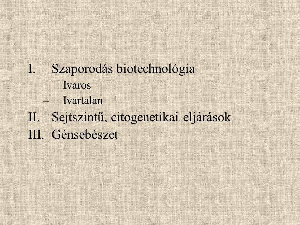 I.Szaporodás biotechnológia –Ivaros –Ivartalan II.Sejtszintű, citogenetikai eljárások III.Génsebészet