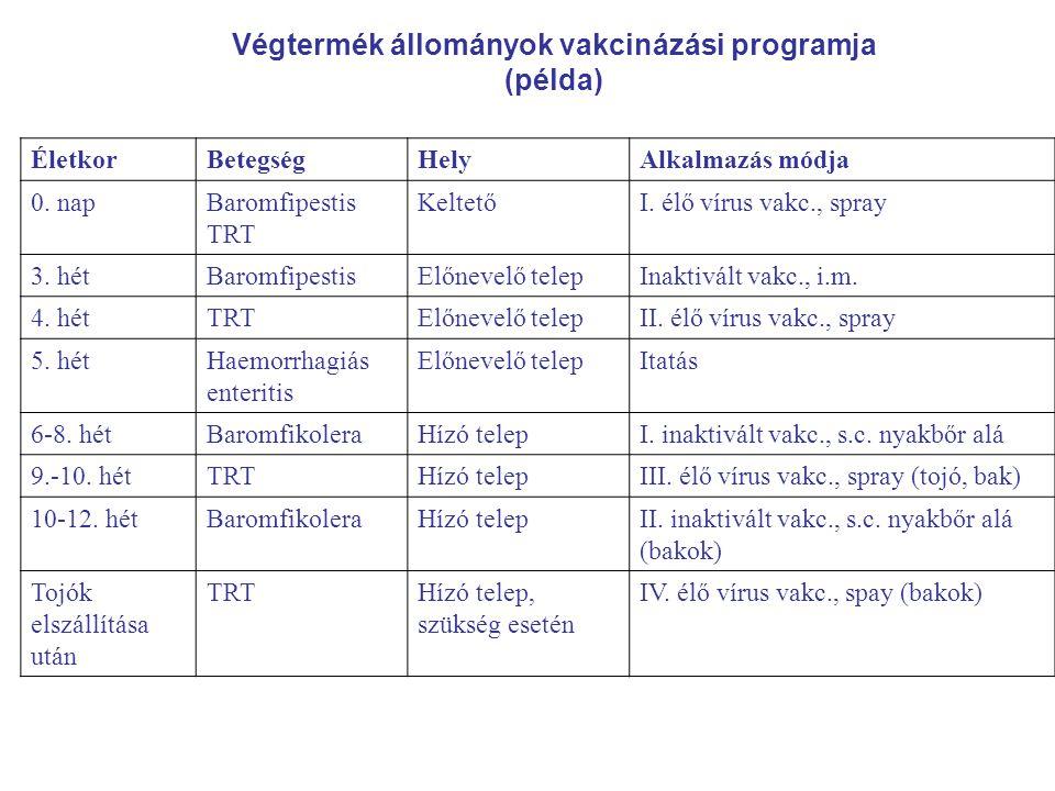Végtermék állományok vakcinázási programja (példa) ÉletkorBetegségHelyAlkalmazás módja 0. napBaromfipestis TRT KeltetőI. élő vírus vakc., spray 3. hét